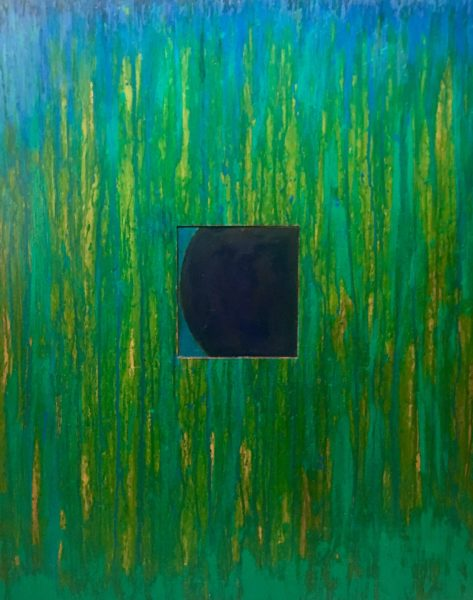Eclipse of the Blue Square, 2018/19 mixed media on panel.