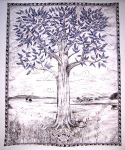 Texas Tree of Art, china marker, ink jet prints on Tyvek